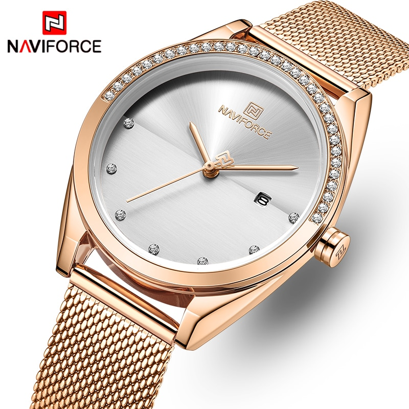NAVIFORCE Fashion Gold Women Watch Luxury Quartz Lady Watches Waterproof Wristwatch Elegant Gifts Fe