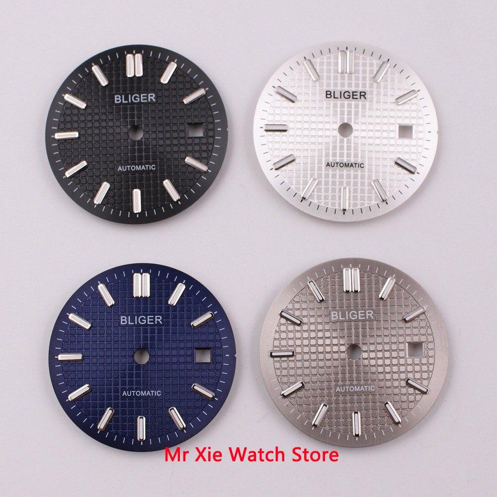 Esfera del reloj estéril de 31mm, negra, azul, plateada, gris, esfera del reloj fit ETA 2824 2836 Miyota 8205 8215 821A Mingzhu DG 2813 3804 movimiento