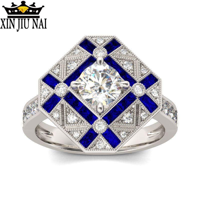 925 prata azul branco zircão anel de noivado masculino birthstone safira anel de noivado