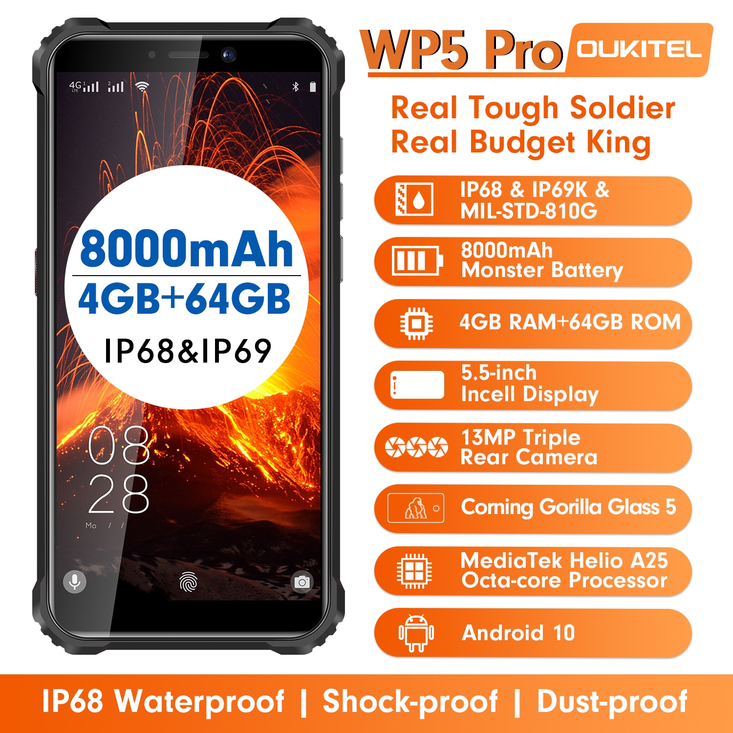 OUKITEL WP5 Pro IP68/IP69K Rugged Mobile Phone Waterproof Octa Core SmartPhone 5.5Inch Android 10.0 Helio A25 Cellphone Dual SIM