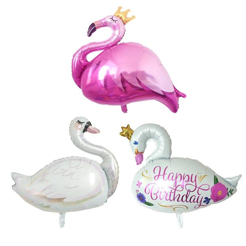 Globo rosa de aluminio de flamenco, corona, cisne blanco, globo de cumpleaños, decoración para fiesta o boda hawaiana, globos inflables de helio para niños