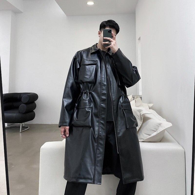 معطف واق من المطر من الجلد الصناعي عتيق للرجال ، ملابس الشارع اليابانية والكورية ، عدة جيوب ، ملابس خارجية طويلة