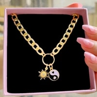 vintage gold color enamel yin yang pendent thick chain necklace hip hop sun geometric short pendent necklaces for women jewelry