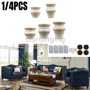 1/4PCS Solid Wood Furniture Legs Replacement European Style American For Cabinet Sofa Coffe Tea Table TV Stands 60/80/100/120mm