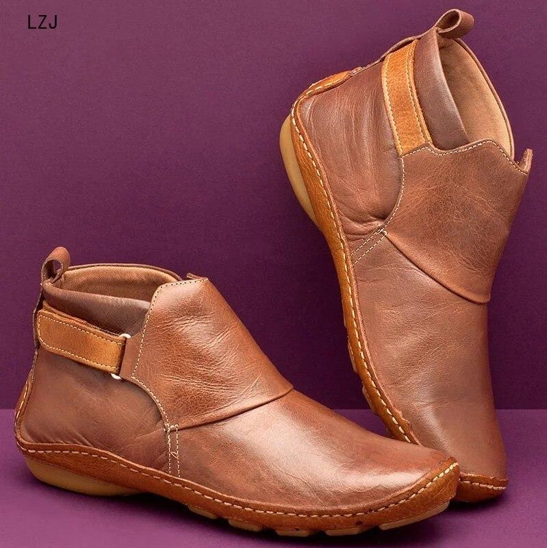 2019 botas de couro de inverno das mulheres botas de outono retro botas de tornozelo botas de plataforma botas de borracha femininas sapatos zapatos de mujer