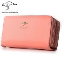 kangaroo kingdom brand fashion genuine leather women wallets long zipper clutch purse female phone wallet
