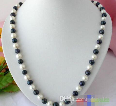 "24 ""10 MM blanco redondo negro FW cultivado perla collar"