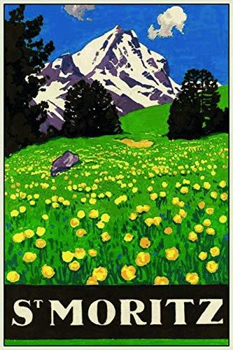 Тема St Moritz Швейцария гор металлический жестяной знак 8x12 дюймов Домашняя Кухня Декор путешествия