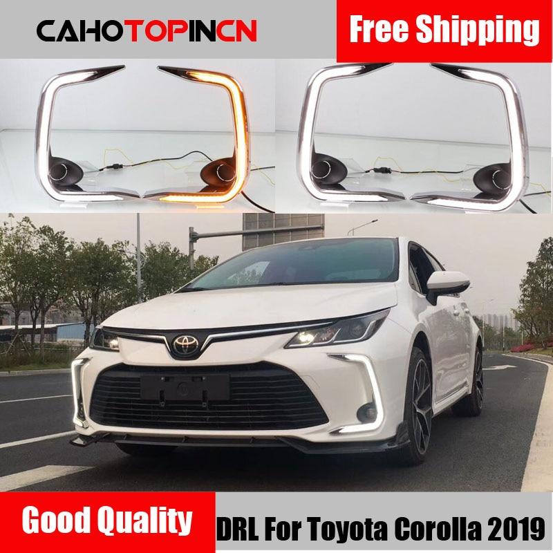 Светодиодный дневные ходовые огни для Toyota Corolla 2019 2020 DRL передний бампер противотуманная фара крышка с желтым поворотным сигналом стиль реле