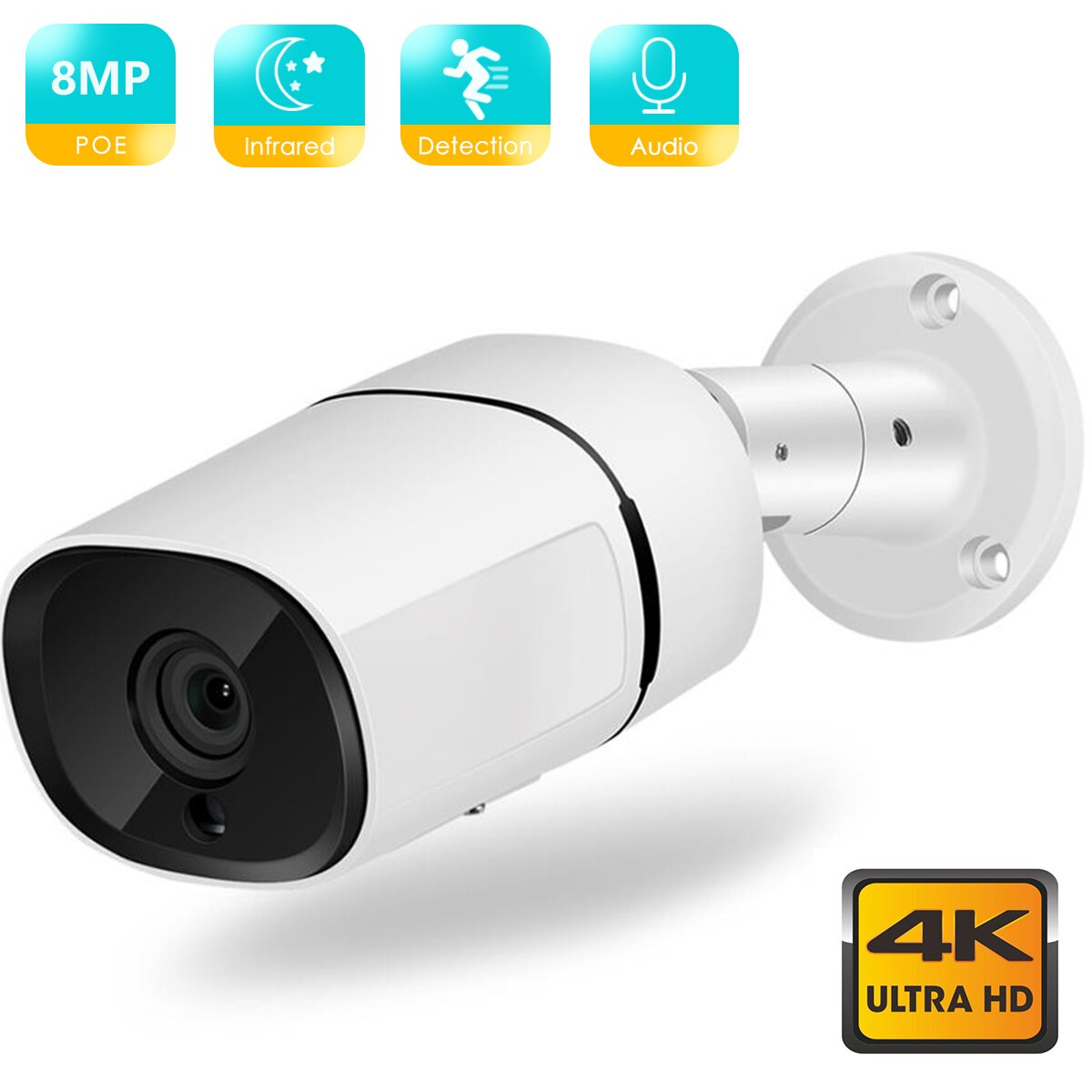 BESDER 4K 8MP 4MP Ultra HD H.265 POE IP Camera Audio AI Humanoid Detection Waterproof Video Surveillance Camera IR Night Vision