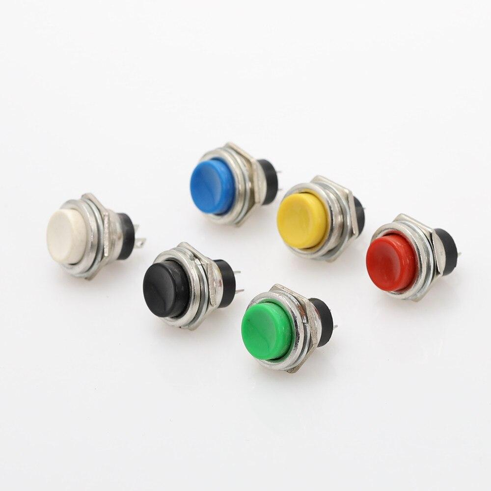 1 Uds. Interruptor de botón momentáneo de 1 sin tapa interruptor de botón de metal recuperación 2 pines 3A 250V 16mm autorreinicio de rosca macho