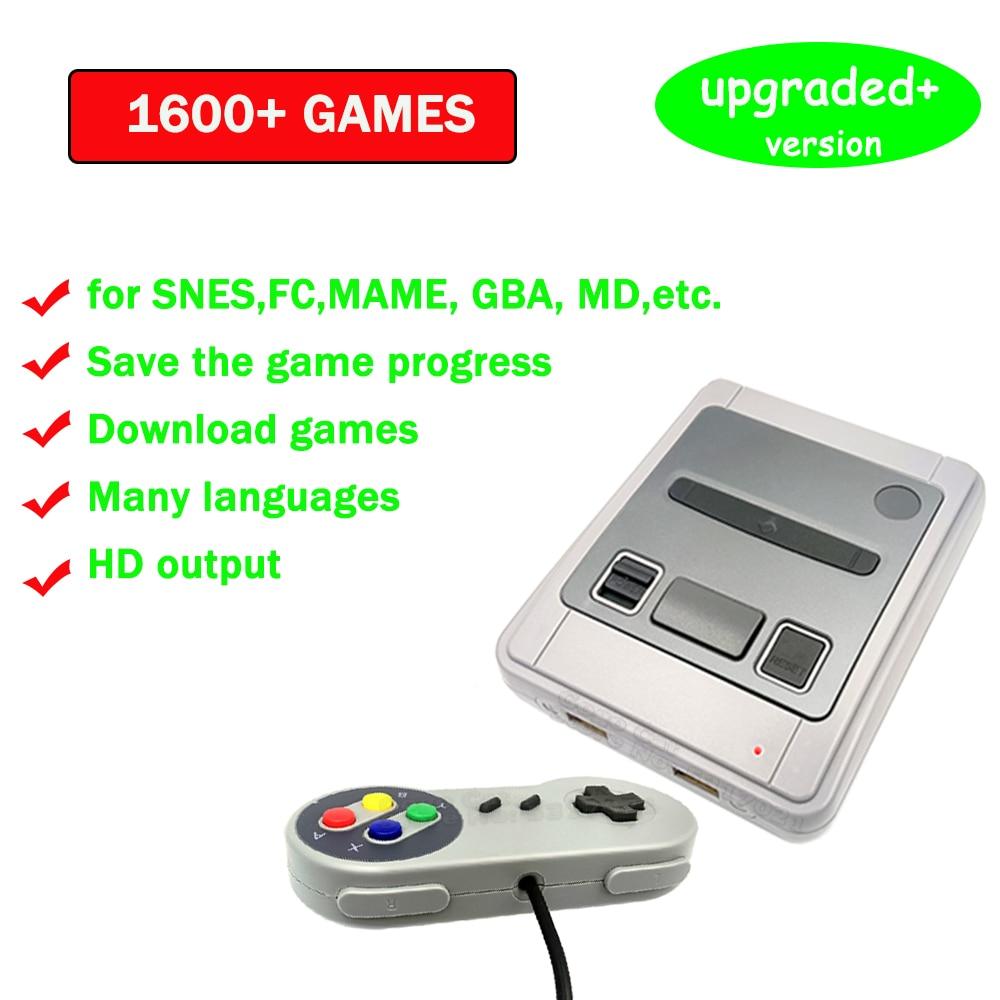 لعبة فيديو وحدة التحكم لسوبر نينتندو/أركيد ريترو HD ألعاب صغيرة TV وحدة التحكم لاعب 1600 ألعاب ل Snes Prefix عصا التحكم هدية