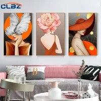 Peinture sur toile dart moderne femme  affiche de fille nordique imprimee pour salon et chambre a coucher  decor Mural de maison  baton sur le mur