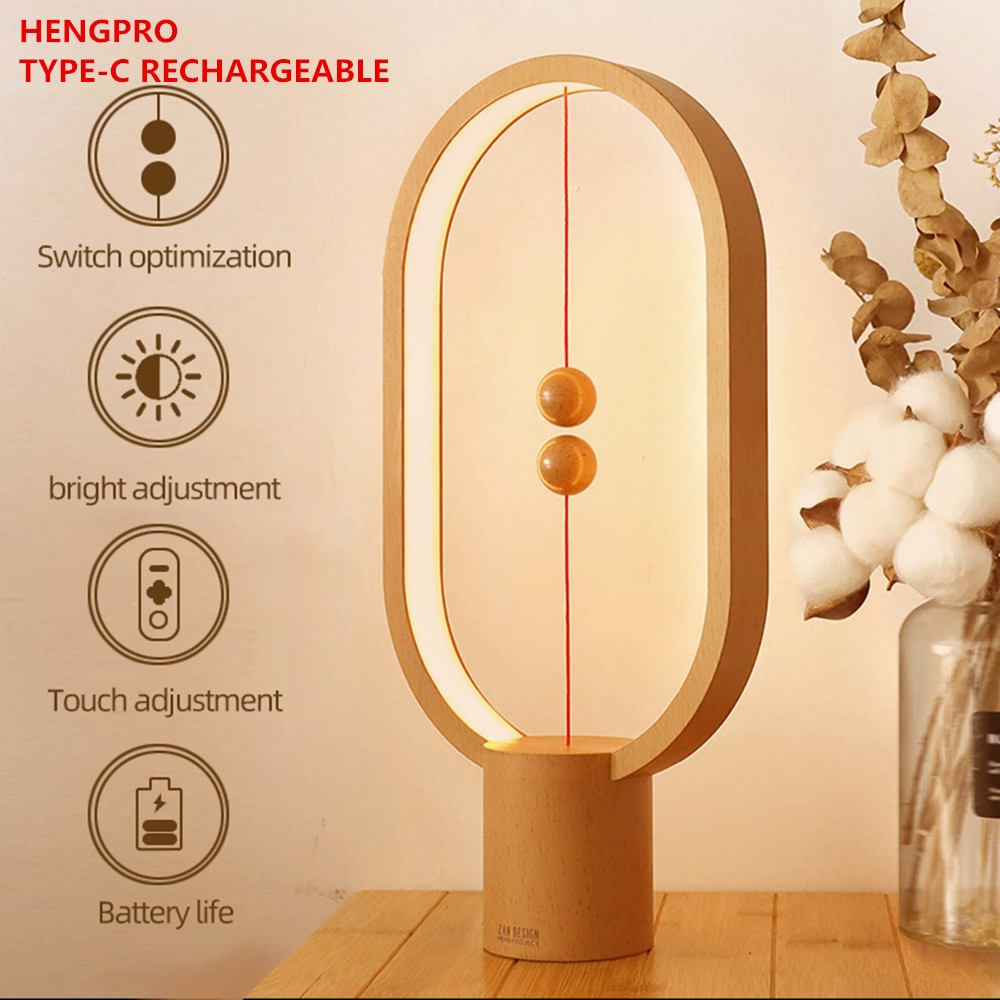 USB Rechargeable Hengpro Balance LED Table Lamp Ellipse Magnetic Mid-Air Switch Eye-Care Night Light Touch Control Dropship