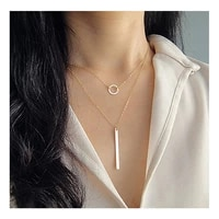 double fayered necklace choker women round necklace pendant strip gold color collares fashion girl party alloy jewelry