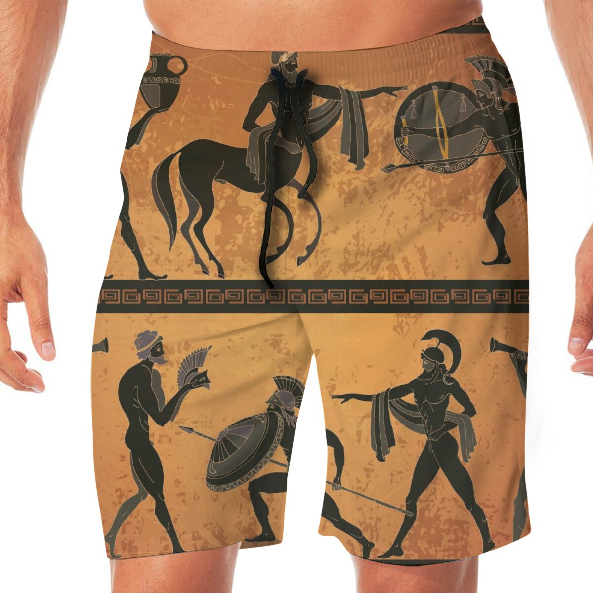 Ancient Greece Scene Pottery Greek Mythology Mens Swimsuit Swimwear Men Swimming Short Beach Short Sports Suits Surf Swim Trunks