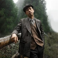 2021 winter handsome mens suit jacket ploka dot v neck japan style singal breasted coat fashion business casual