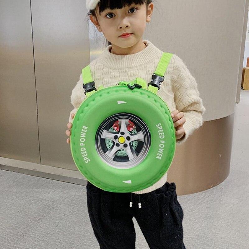 Детский школьный ранец с 3D автомобильными шинами, милый детский маленький рюкзак из ЭВА, сумка для детского сада, милый школьный портфель дл...