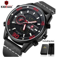 KADEMAN Fashion Mens Watch TOP Quality 30M Sport Watch Luxury Brand Casual Leather Wristwatch 2020 Male World Time Clock Relogio