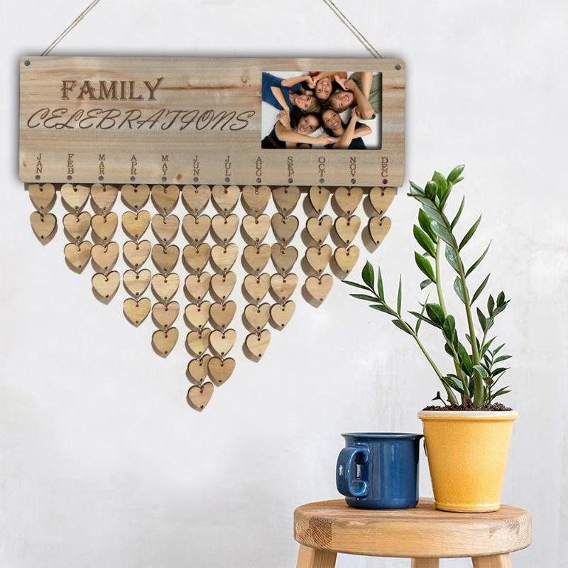 Marco de foto de madera tallado texto tablero de mensajes calendario adornos colgantes