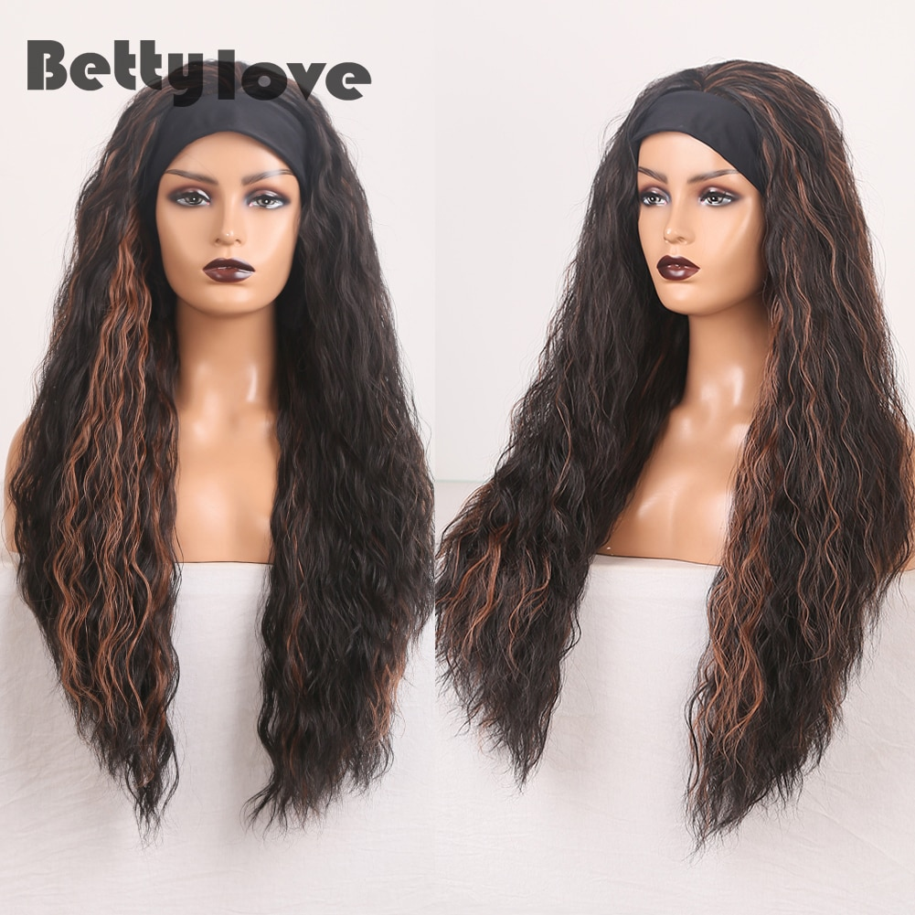 BETTYLOVE Headband Wig Highlight Hair Cosplay Wigs for Women Long Water Wave Wig High Temperature Fiber Synthetic Wigs