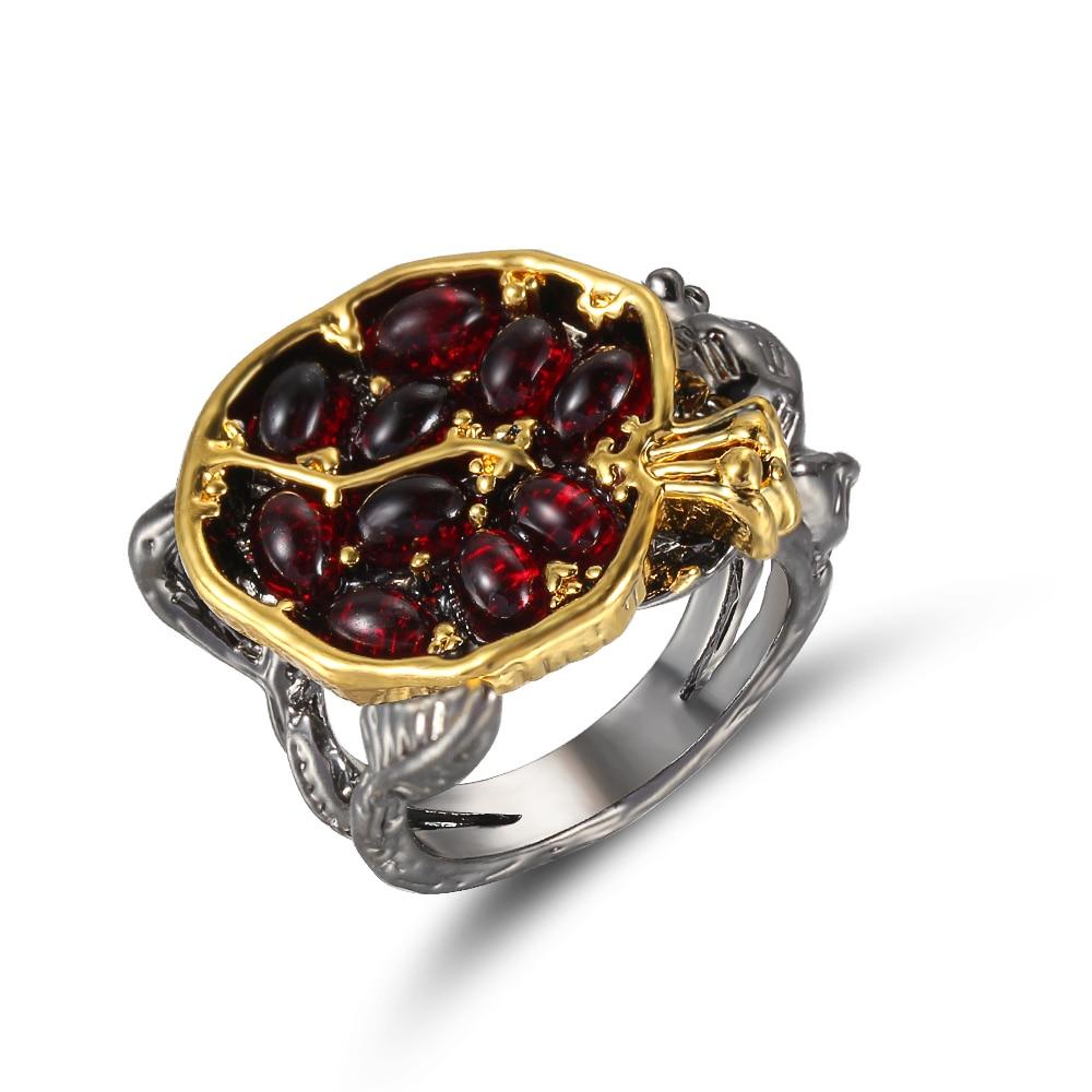 Anel feminino personalidade anel de zircão carmesim anel árvore videira preto romã design requintado festa jóias pop menina decoração