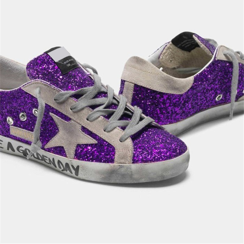 Spring and Autumn New Purple Sequins Retro Old Small Dirty Kids Shoes Casual Graffiti Letters Non-slip Parent-child Shoes QZ23 enlarge