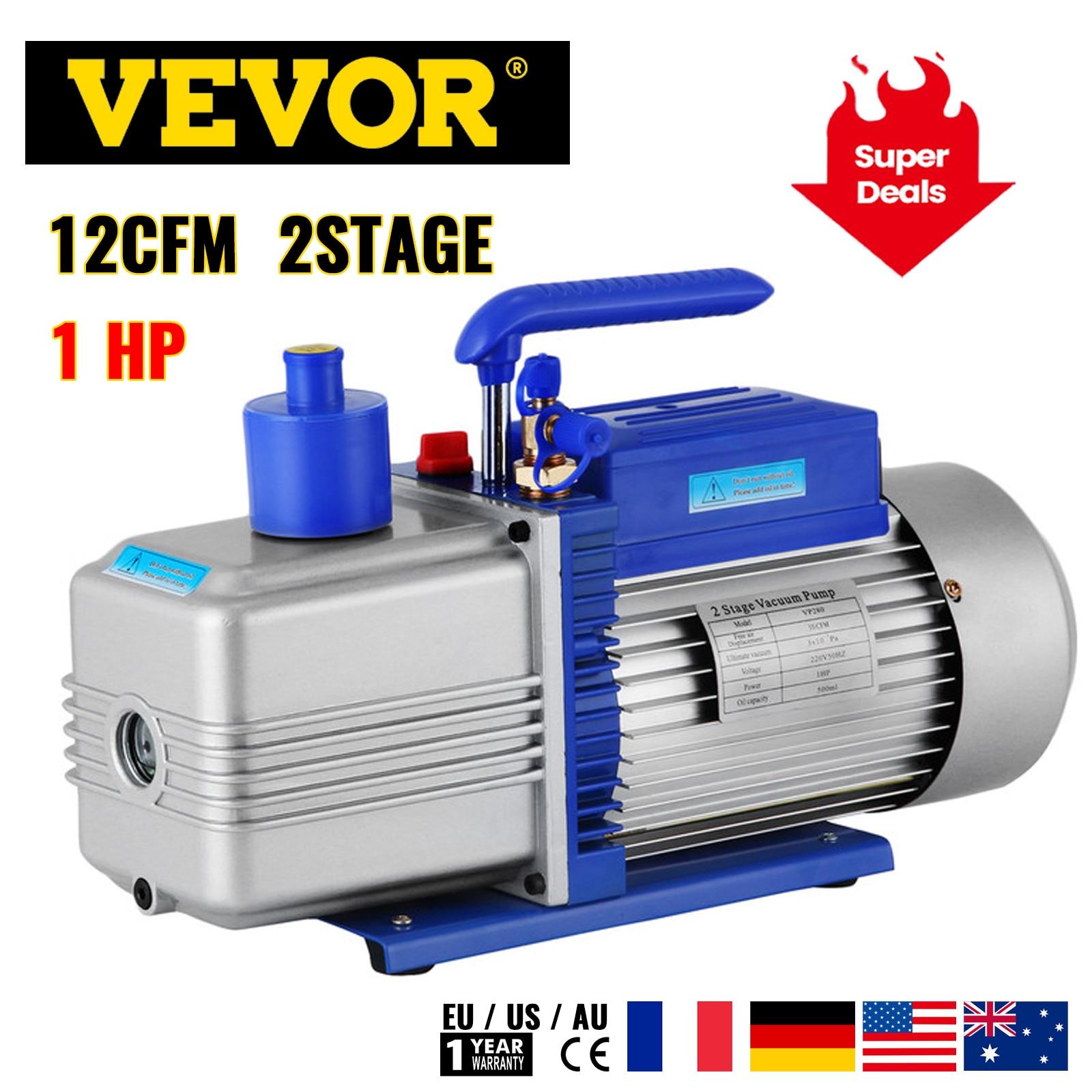 VEVOR 12CFM مضخة تفريغ التبريد 2-المرحلة التكييف التبريد للتعبئة فراغ تكييف الهواء المنزلية صيانة السيارات