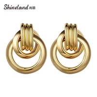 hongye 2021 new retro simple gold color metal stud earring punk geometry round hollow brincos for woman girls accessories gift