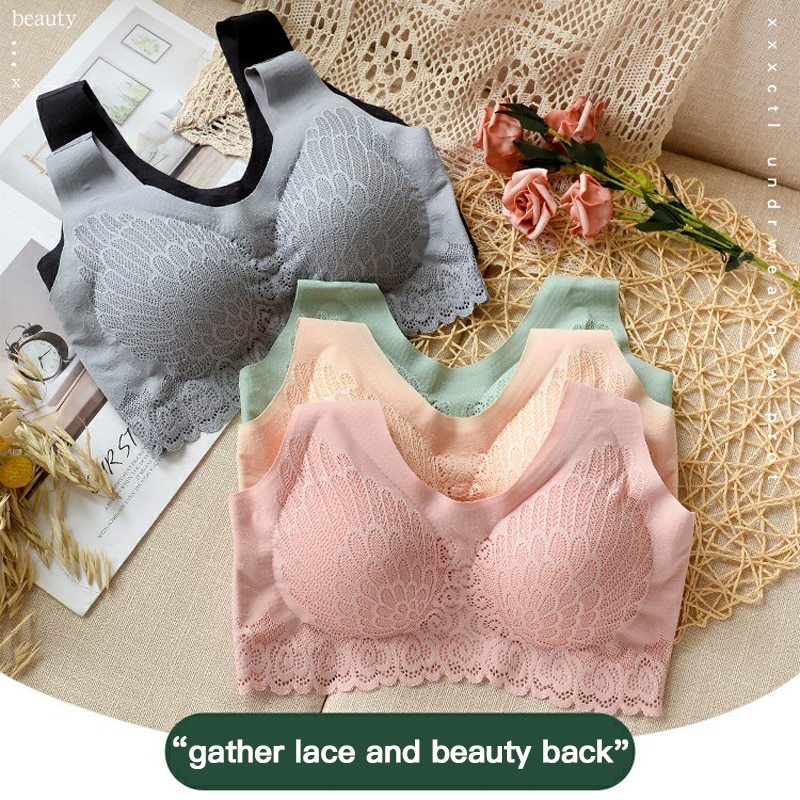 5 Colors Bras for Women Hot 2020 Newest 5D Wireless Contour Bra Lace Breathable Underwear Seamless for Sports Yoga Running TSLM1