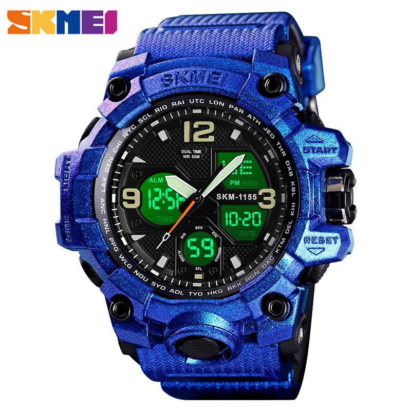 Relojes militares reloj de pulsera para hombres del ejército reloj de cuarzo LED Digtial Dual Time 50m reloj impermeable 115b reloj deportivo para hombre