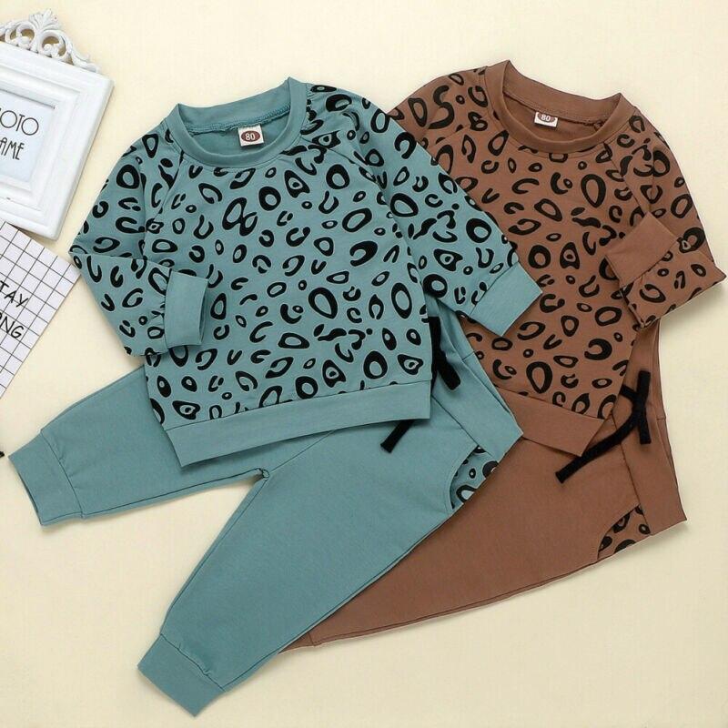 1-4 años trajes para niños pequeños, sudadera con estampado de leopardo, pulóver, pantalones largos, ropa para niñas, chándales para niños