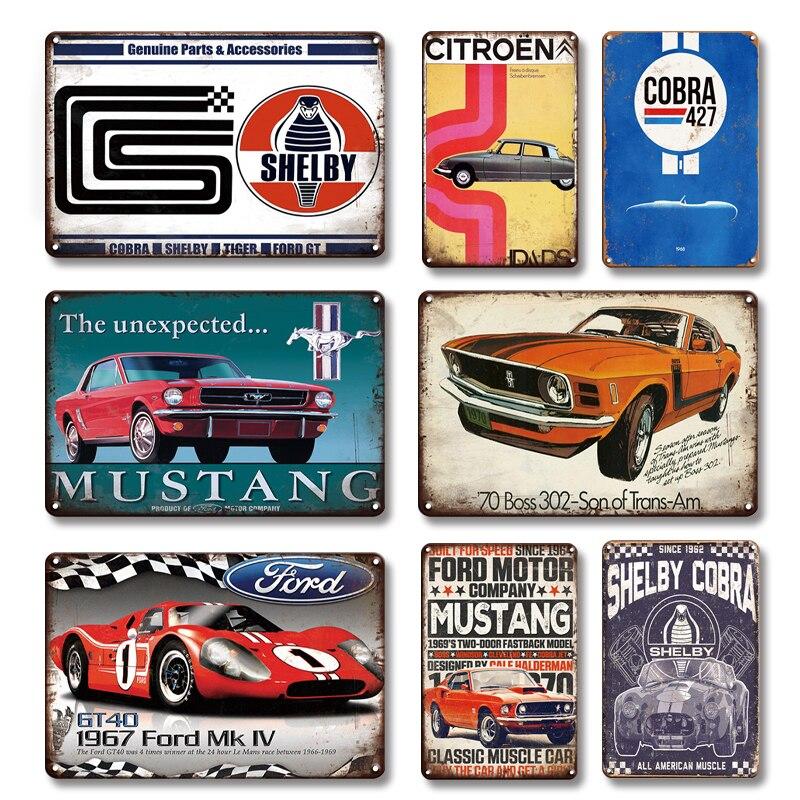 Оловянный постер Shelby Cobra 427, винтажный автомобильный гаражный знак, человек, пещера, украшение, Ностальгический жестяной знак, художественна...