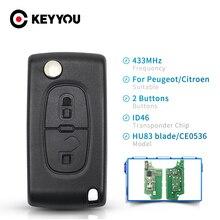 Брелок KEYYOU HU83 с необработанным лезвием 433 МГц ASK ID46 CE0536 2 кнопки дистанционный Складной автомобильный ключ для Peugeot 107 207 307 308 407 607