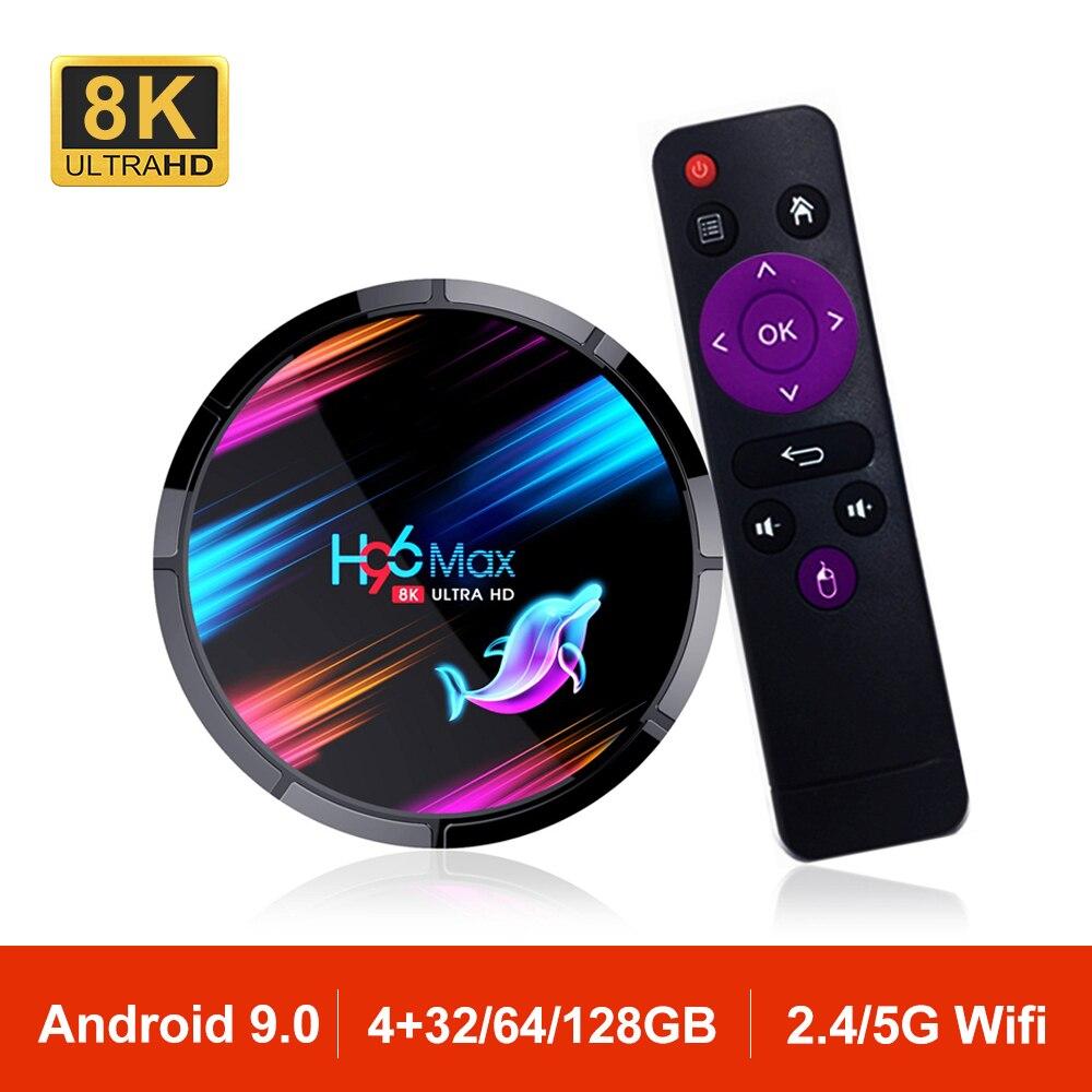 Android 9,0 Dispositivo de TV inteligente H96MAX X3 Amlogic S905X3 8K 2,4G/5G Wifi BT4.0 Set Top Box reproductor multimedia de Google H96 MAX PK X96 DDR3 4GB