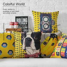 Art Banana Camera Lips Dog Pattern Cotton Linen Pillowcase for Home Office Sofa Seat Decor