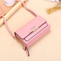 summer double zipper 2 layers long wallets for women phone clutches 2021 new high quality phone purse crossbody shoulder ladies