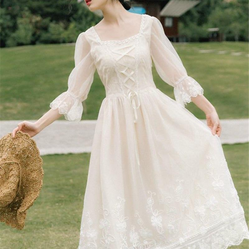 Vintage Retro Dress Women French Style Elegant Designer Fairy Dress Casual Slim Chiffon Party Dress 2020 Autumn Women's Clothing