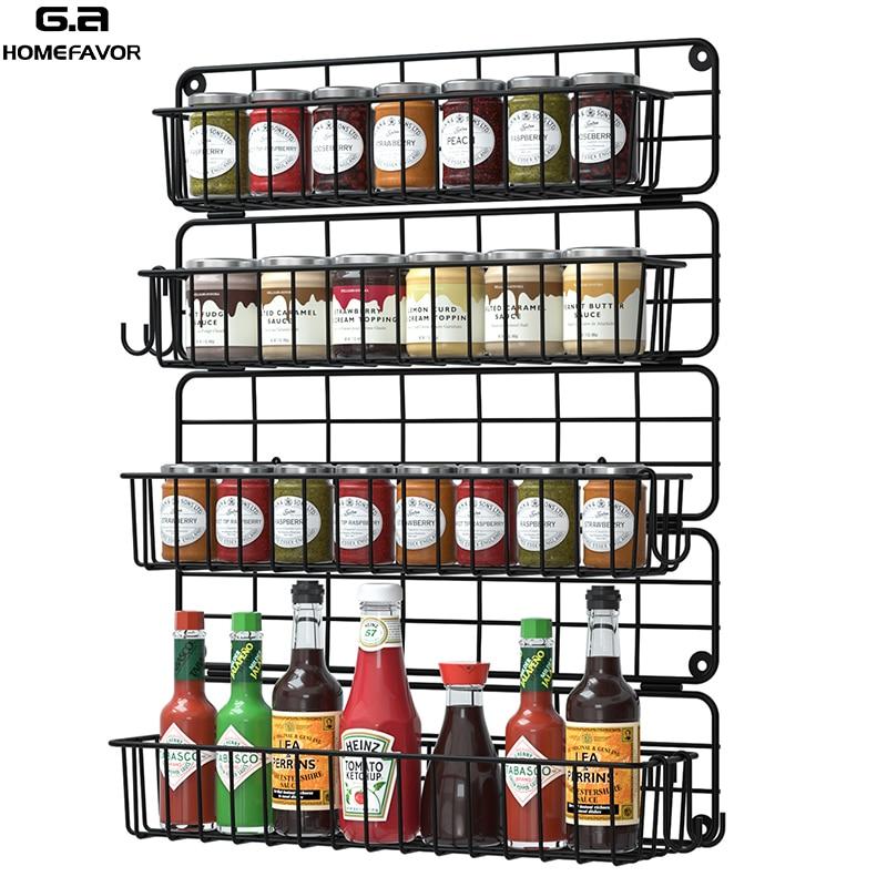 رف توابل رف معلق مزرعة الحائط 4 الإطارات الجرار زجاجات حامل المطبخ الحديد سلك التخزين المنظم