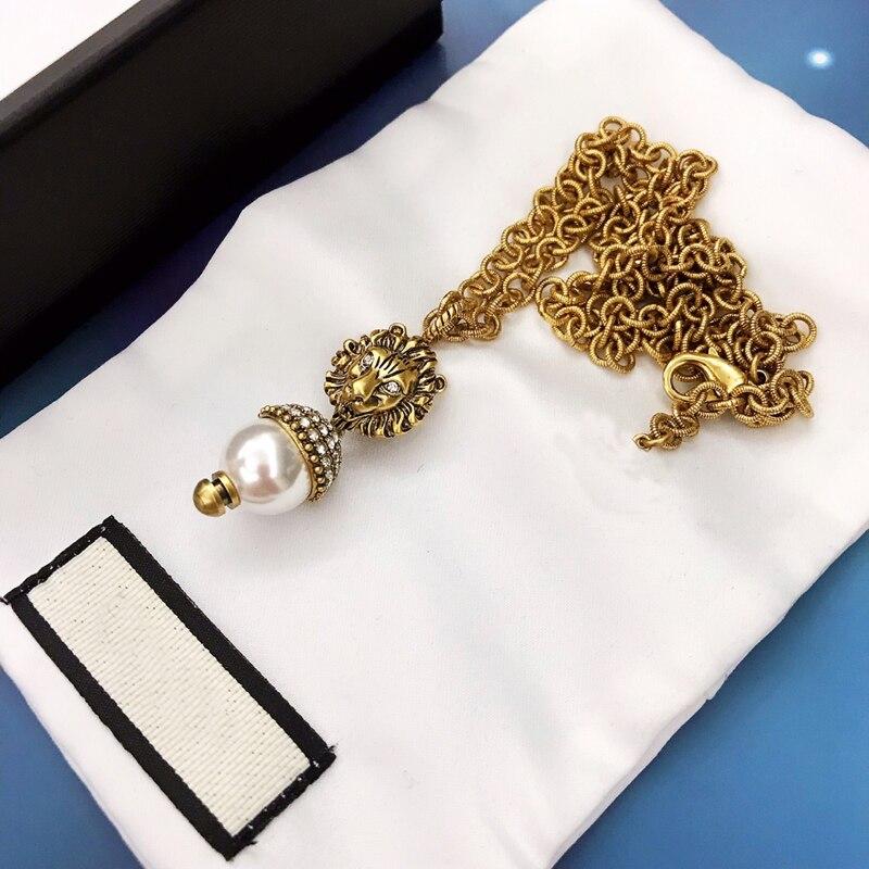 Alta qualty 11 luxo retro colares jóias corrente de ouro leão cabeça forma pérola colar presentes para as mulheres acessórios para meninas
