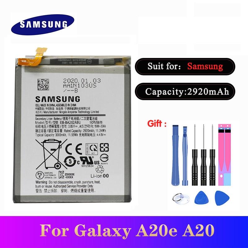 20pcs/lot High Quality Battery EB-BA202ABU For Samsung Galaxy A20e A20 SM-A202F A202F/DS  Phone Batteries 3000mAh