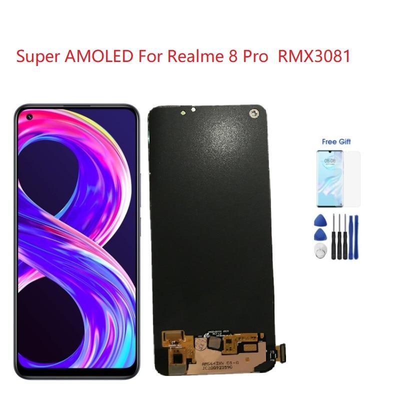 سوبر أموليد ل ريليم 8 برو LCD RMX3081 شاشة عرض محول الأرقام الجمعية ل ممن لهم Realme8 برو الشاشة