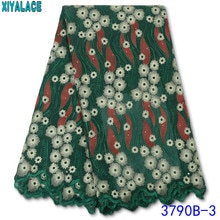 5 Yard Swiss Lace Fabric 2020 Latest Embroidery Lace High Quality African Cotton Laces with Stones f