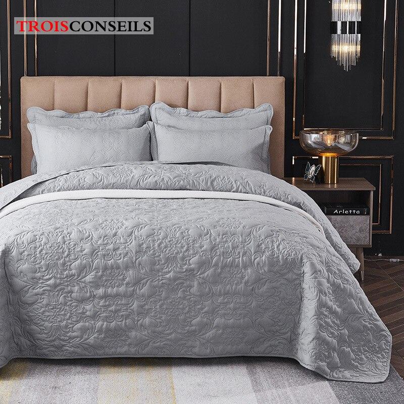 مفرش سرير 220x240 سنتيمتر, مفرش سرير وبطانية لحاف من القطن المغسول/كيس وسادة ناعم دافئ مجموعة مفروشات سرير مزدوجة مقاس 240x260cm