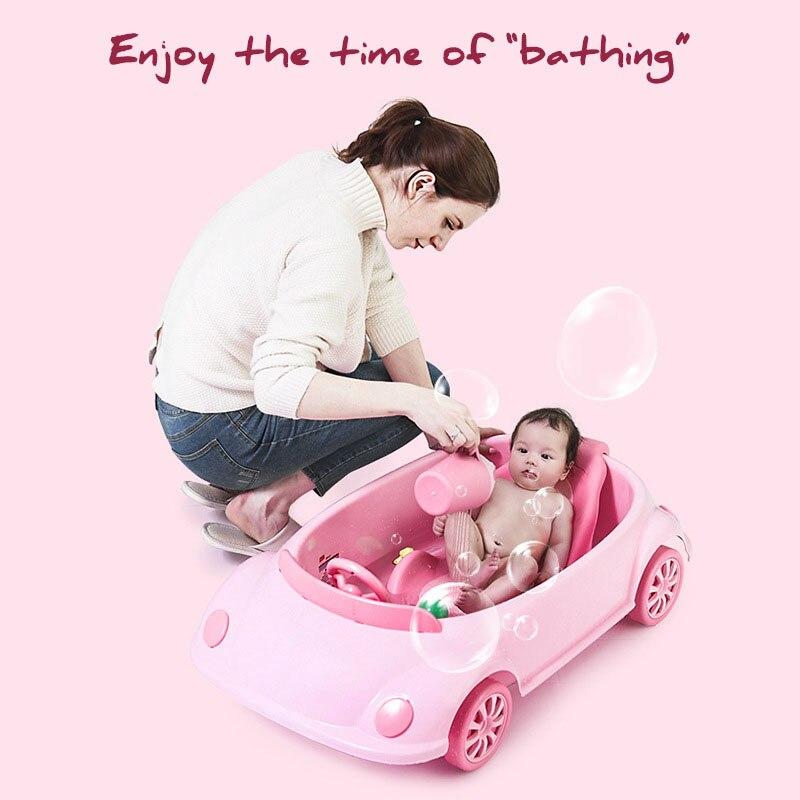 Bañera de bebé recién nacido sentado tumbado bañera infantil Cubo de baño Universal bañera de bebé estante de baño para niños tumbado ducha forma de coche