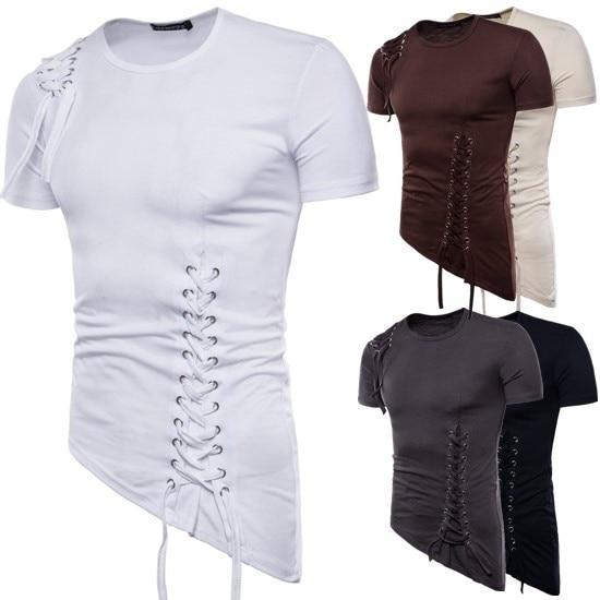 ZOGAA, novedad de verano para Hombre, camiseta de manga corta con diseño Irregular de cuerda de tejer, camiseta de moda para Hombre, Camisetas para Hombre 2020