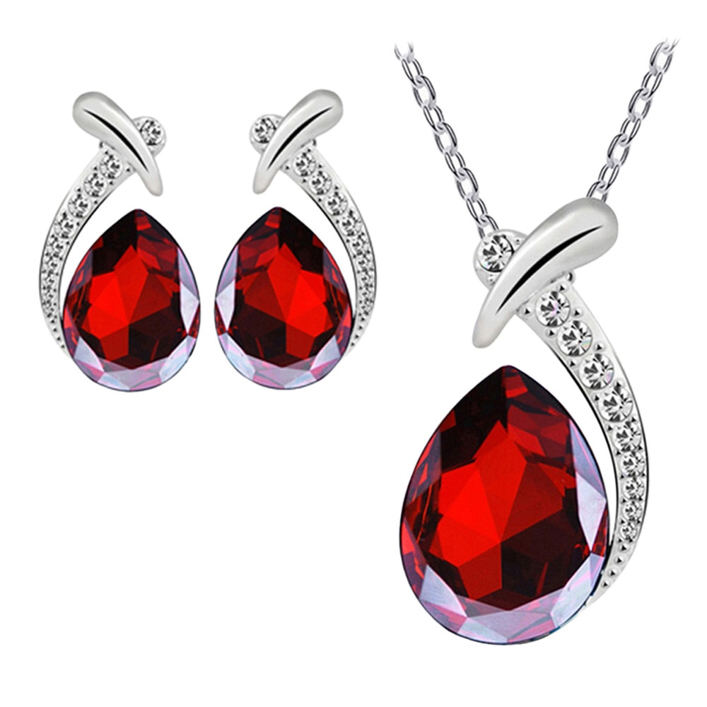 1 earing + 1 colar feminino pingente de cristal prata banhado a corrente colar brinco conjunto jóias requintado presente colar de moda