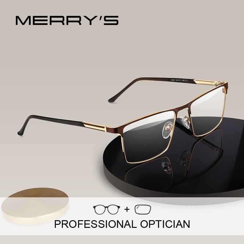 تصميم ميريس نظارات طبية للرجال نظارات مربعة لقصر النظر للرجال إطارات ذات أسلوب عمل نظارات بصرية للرجال كبار السن S2052PG