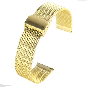 18/20/22MM Golden Stainless Steel with Mesh Wristwatch Band Unisex Hook Buckle Bracelet Replacement Watchband cinturino orologio