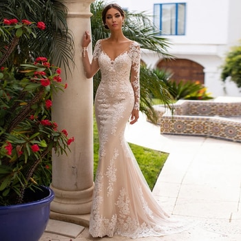 Long Sleeve Lace Mermaid Wedding Dresses 2021 Appliques Beads Tulle Bridal Gown For Women V-Neck Sexy Open Back Sweep Train